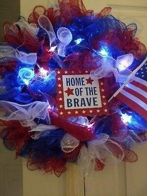 4th of July/Patriotic Lighted Deco Mesh Wreath Everyday Door Décor.