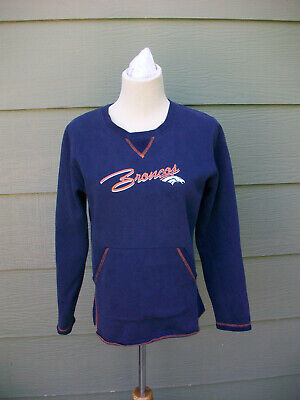 NFL Denver Broncos Womens Sweatshirt Sz S Sweater Blue Orange Fan Top Football Denver Broncos Womens Sweatshirts