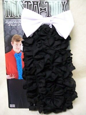 Instant Tux Black Ruffled Fake Shirt Front White Bow Tie 80s Prom Wedding Dickie