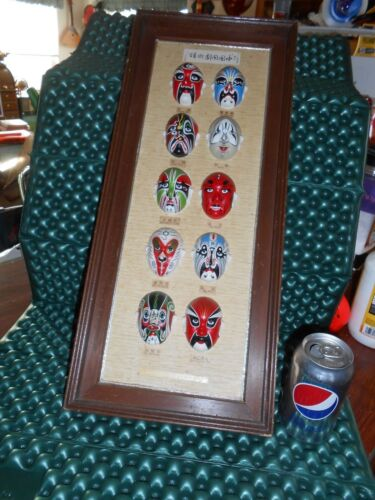 Vtg Antiqque Chinese Face Art Painted MASK Lot of 10 Mounted