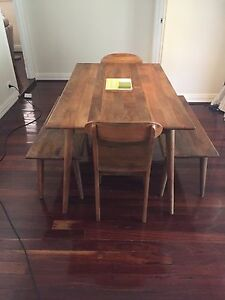 BEAUTIFUL MANGO WOOD DINING TABLE, BENCH & CHAIRS - 12 MONTHS OLD East Victoria Park Victoria Park Area Preview