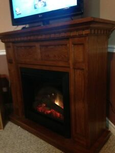 Fireplace with heater and mantle