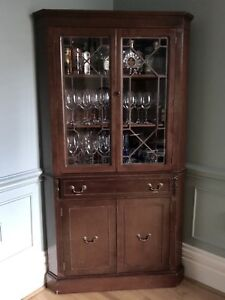 antique corner display or china cabinet, wood