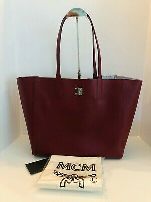 MCM Medium Wandel Reversible Shopper Ruby Tan -
