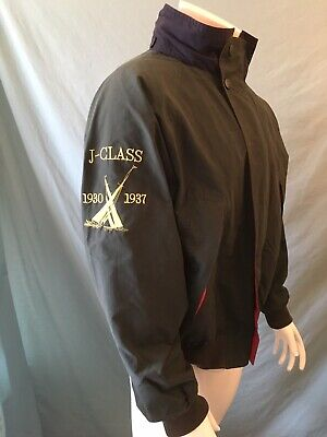 Nautica Challenge J Class Spell Out Vintage Hood Jacket Green Red Liner Size L/G
