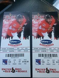 2 Tickets Sens Vs Rangers
