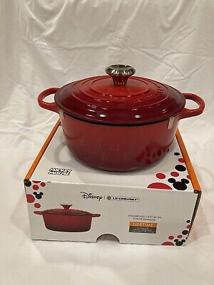 Le Creuset Mickey Mouse Red Cast Iron Dutch Oven 4.5 Qt New