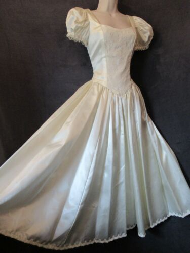Vintage Pale Yellow Ivory Satin Puff Sleeve Princess Bride Ankle Wedding Dress S