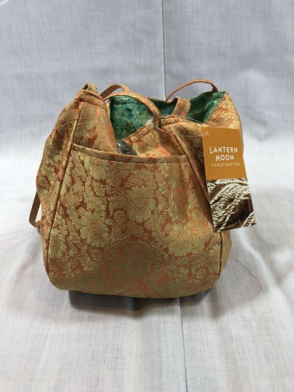 Lantern Moon Maya Silk Project Bag - Reversible Orange Green - Knitting Tote