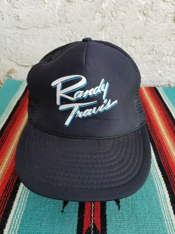VTG 80s Randy Travis Concert Tour Mesh Trucker Hat COUNTRY MUSIC