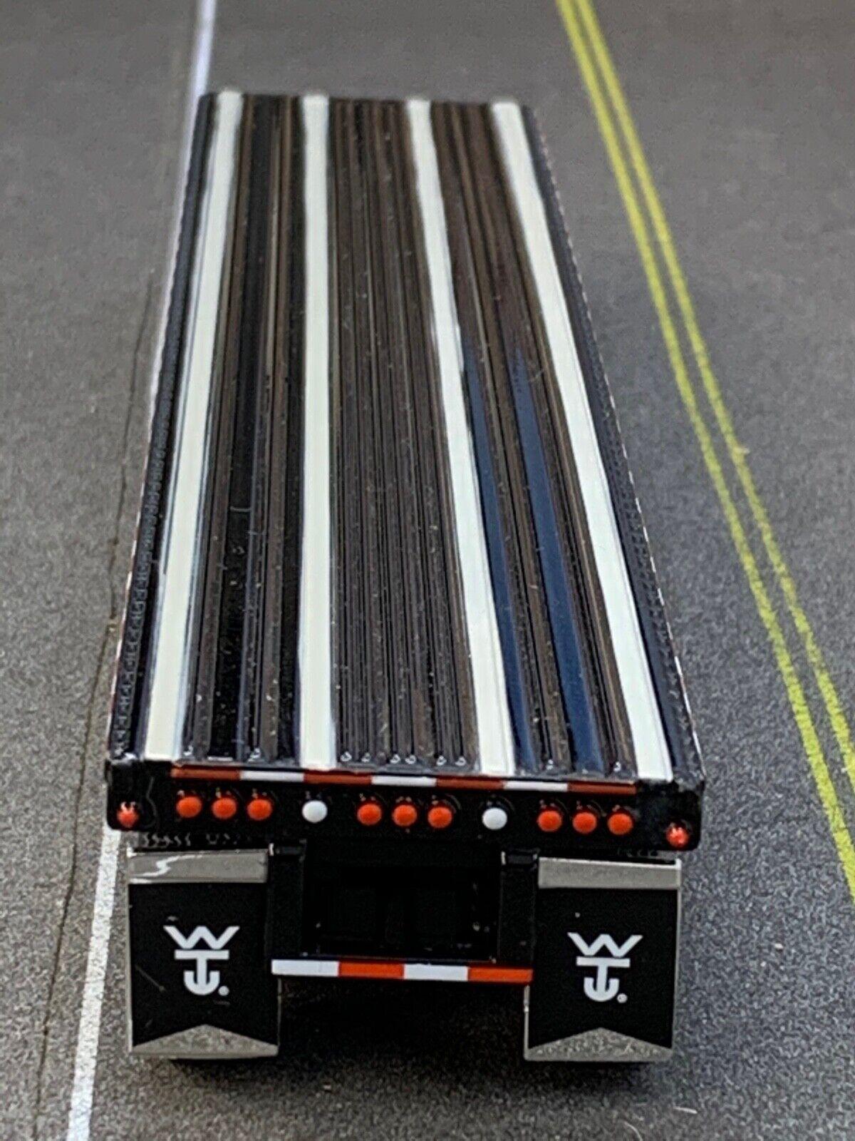 1/64 DCP BLACK WILSON ROADBRUTE SPREAD AXLE FLATBED TRAILER W/ WHEEL & TOOL BOX 2