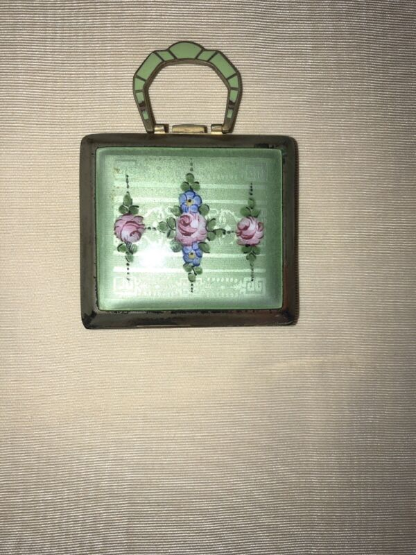 Guilloche Vintage Antique Compact By La Mode, Green With Tiny Handle, Darling