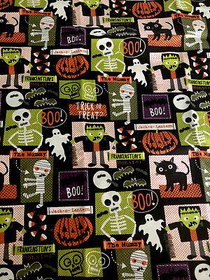 """1/2 yd Fabric 100% Cotton Halloween Friends Frankenstein Mummy (18""""x42"""")"""