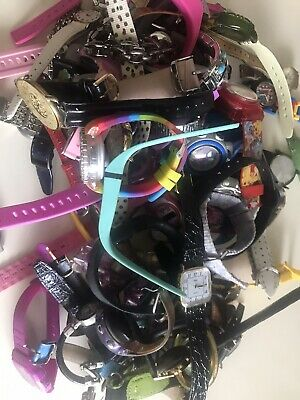 Lot Of 40+ Assorted Watches Fossil Disney Sport Vtg - Present For Repair Parts