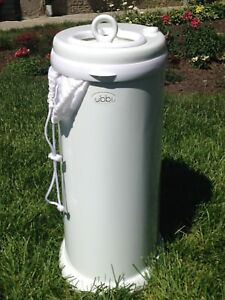 Ubbi Pail in White with Cloth Liners EUC ($150 retail value)
