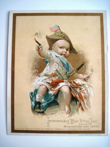 """Victorian Trade Card """"Independence Day 4th of July"""" Drink McLaughlins Coffee *"""