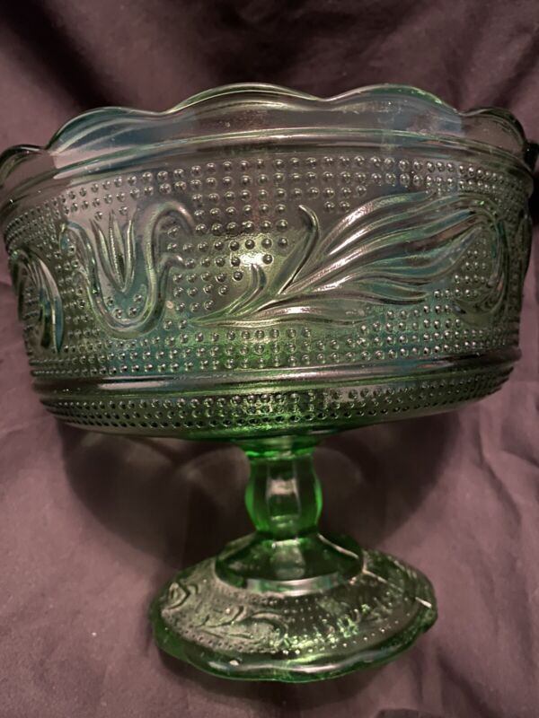 E.O. Brody Cleveland M6000 Green Glass Pedestal Bowl Candy Fruit Dish EO