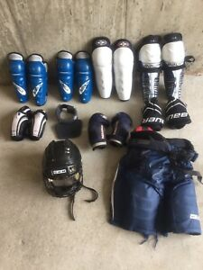Atom/PW age shin guards, pants, gloves, helmet, elbow pads, neck