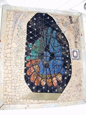 INTERESTING E G PERRY HAND EMBROIDERED COLLAGE PICTURE OF STAINED GLASS WINDOW
