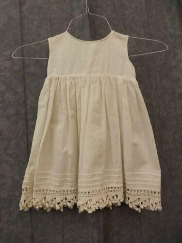 Vtg Antique White Cotton Pintucked Crocheted Shell Button Slip Baby Girl Doll