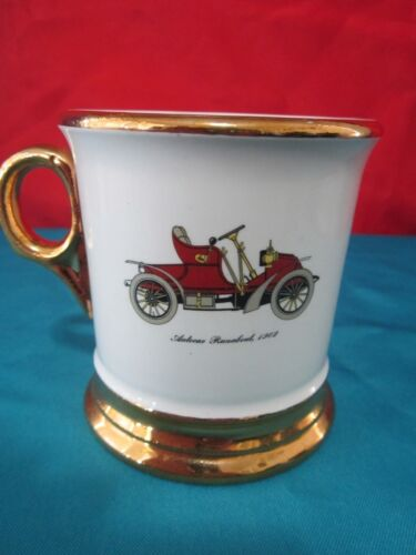 Antique Automobile Mug Coffee Cup from Old Auto Series Trimmed 22 KT Gold