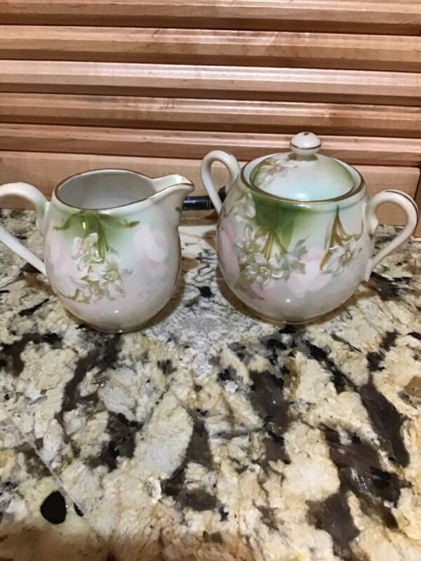 Cream And Sugar Bowl Made In Austria Hand Painted