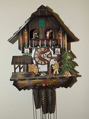 Vintage Regula Hand Painted Animated Black Forest Germany Musical Cuckoo Clock