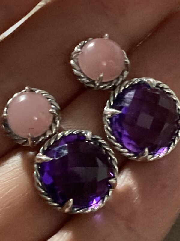 David Yurman Chatelaine Double Drop Earrings With Amethyst And Rose Quarts