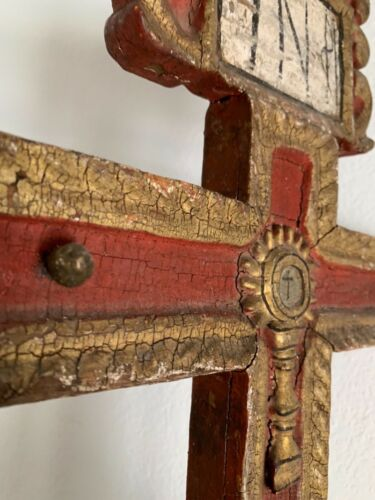 19th C Antique Vintage Old Spanish Colonial Cross W Base - Red W/Gold Paint
