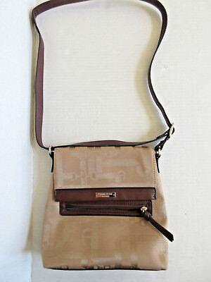 ETIENNE AIGNER Handbag Crossbody Purse Logo Canvas Tan Gold Iridescent CLEAN