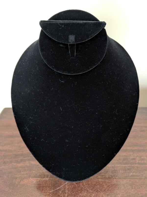 necklace, earrings and bracelet display - black velvet