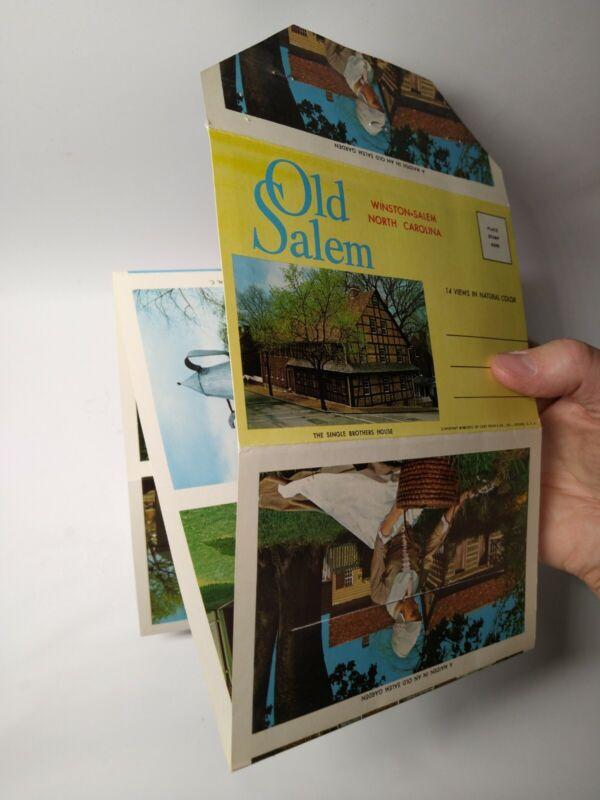 "1968 Souvenir Postcard Folder Old Salem Winston Salem North Carolina 4""x6"""