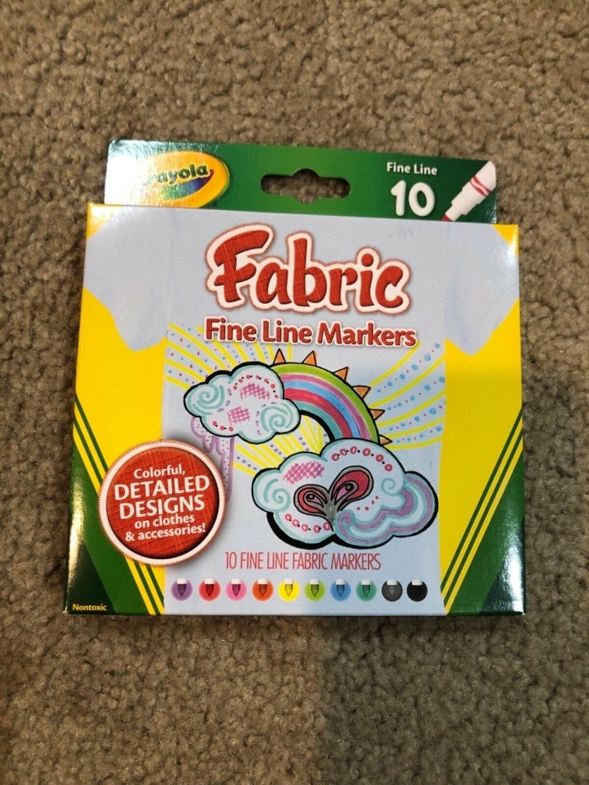 Crayola Fabric Markers 10-Count Set  - 10-Color Fine Line Se