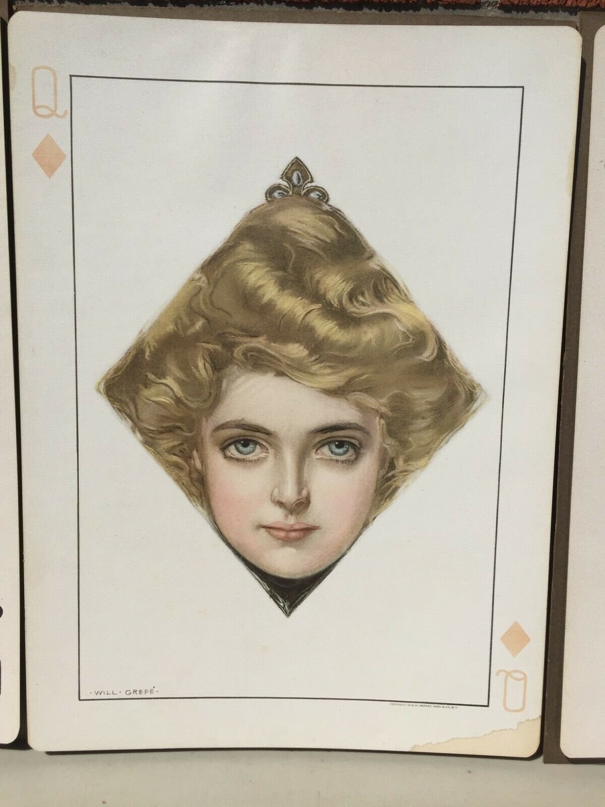 RARE VINTAGE WILL GREFE QUEEN OF HEARTS, SPADES, CLUBS DIAMONDS PRINTS - $950.00