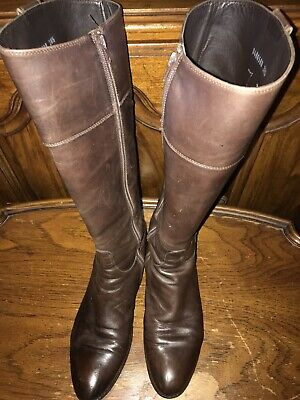 Tall Leather Boots (Italian Brown Leather VIBRAM Bottom Women's Tall Boots Size EU 38.5 / US)