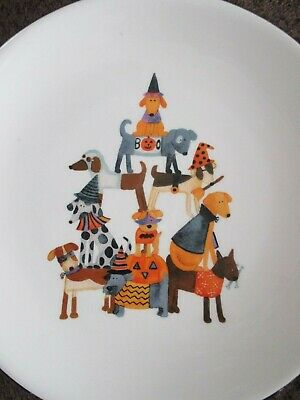 NEW- Set of 2 Stacked Pyramid of Dogs Pups in Halloween Costumes Salad Plates!!