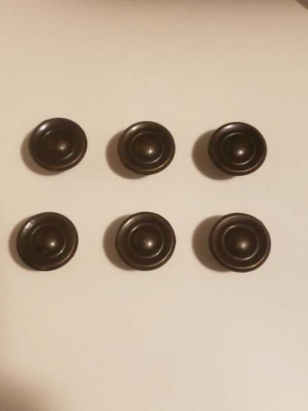 Set of 6 Replacement Round Cabinet Drawer Door Knobs Pulls Rustic Bronze.. Zinc