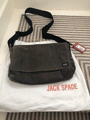 Jack Spade Green Dipped Canvas khaki Wax Industrial Across Body Bag Satchel