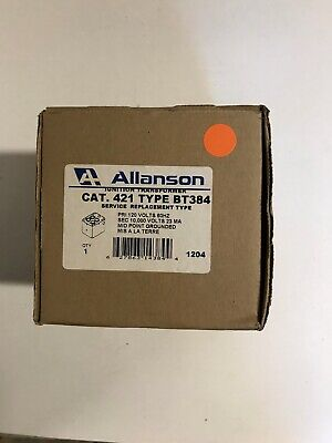 Allanson 421-bt384 Universal Ignition Transformer 120v Primary 10000v Secondary