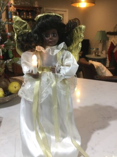 """Christmas African American Holiday Angel Telco Animated Lighted 18 """" Motionette"""
