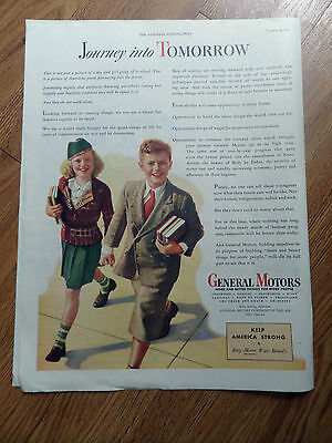 1945 GM General Motors Ad  American Youth Journeying into the Future