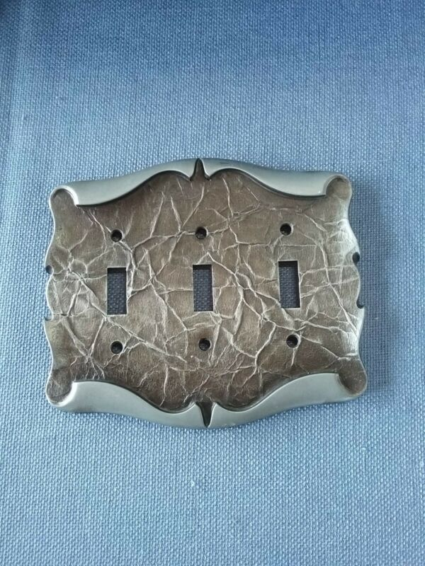 Vtg Amerock Metal Triple Light Switch Plate Cover Scroll Design Carriage House
