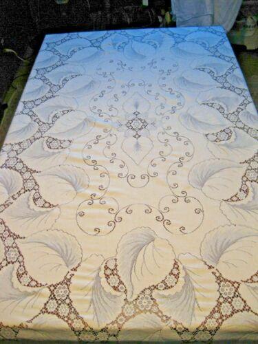 "Antique TOBACCO LEAF Quaker Lace Tablecloth 70"" X 102"" Cream Ivory White Cotton"