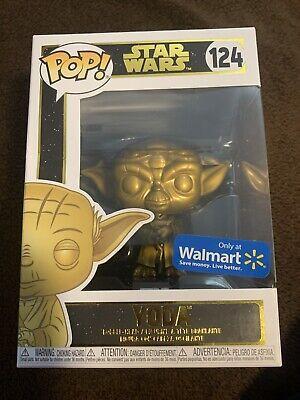 Funko Pop Star Wars #124 Gold Yoda Walmart Exclusive Brand New Disney Rare