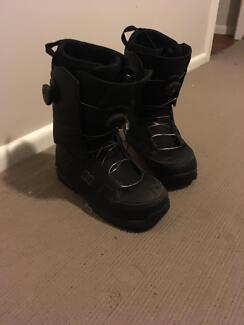 Snowboard, New DC Snowboard Boots size 10 and other accessories