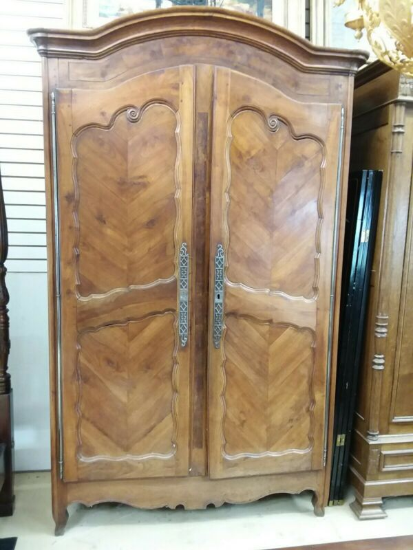 Antique  French Fruitwood Armoire Wardrobe 1800