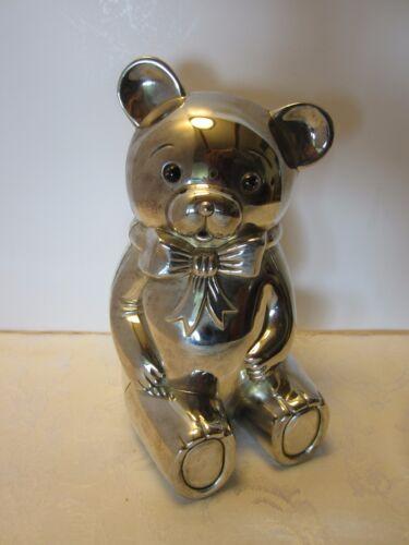 "Vintage LARGE SILVER PLATE Teddy Bear COIN BANK 8 ¾"" TALL Heavy MID CENTURY"