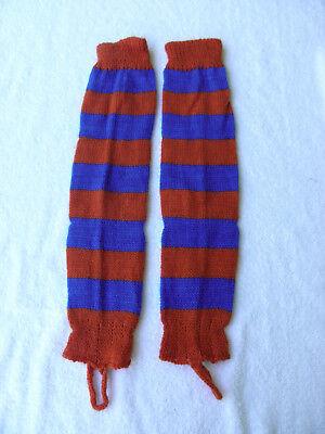 Orange Leg Warmers (Brand New Alpaca Blended Leg Warmers Made in Peru Orange & Blue)