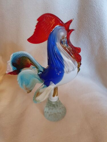 Murano Rooster original Italian handblown glass vintage decorative figurine extr