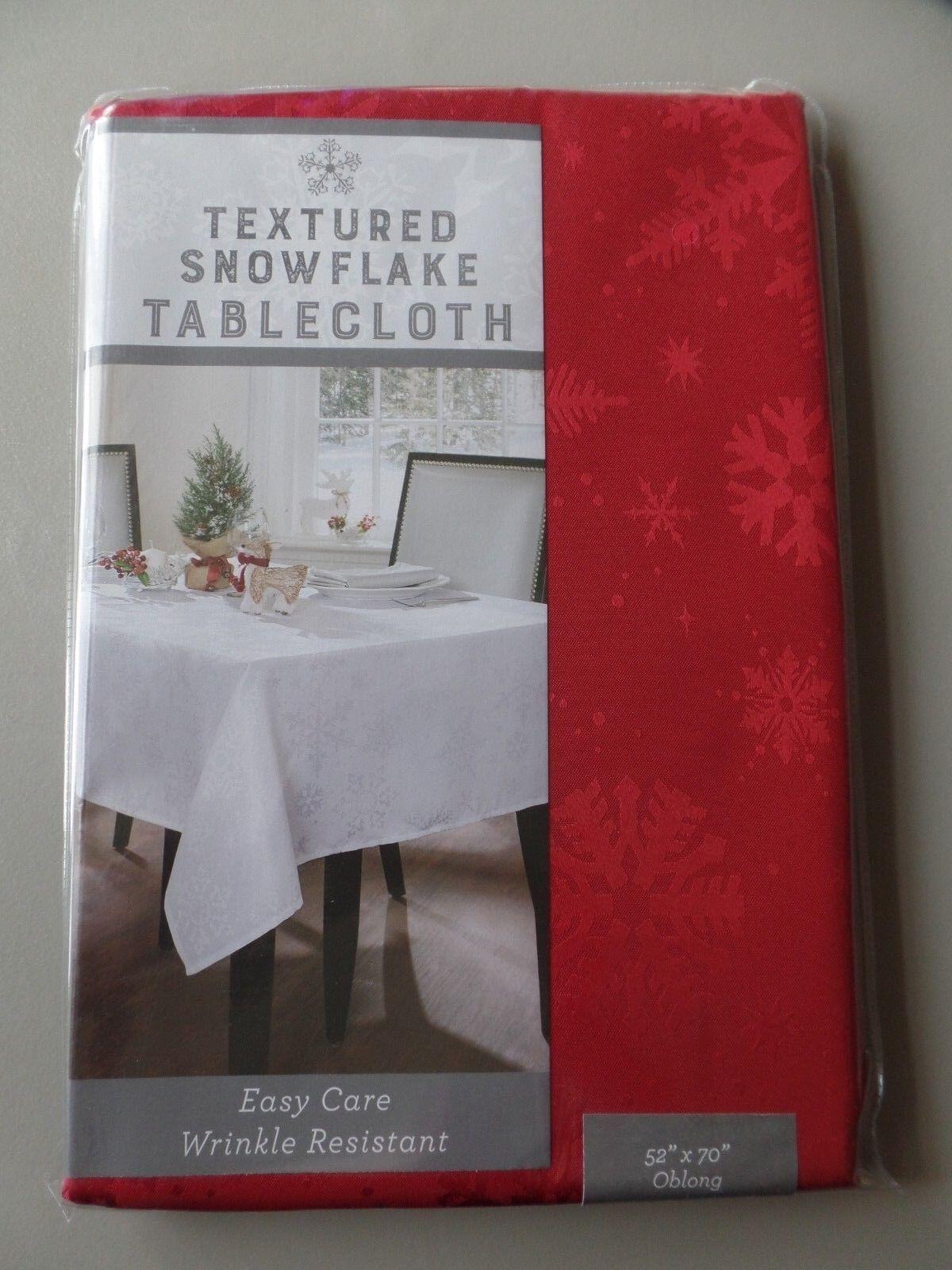 "Benson Mills Textured Snowflake Tablecloth 52"" x 70"" Oblong"